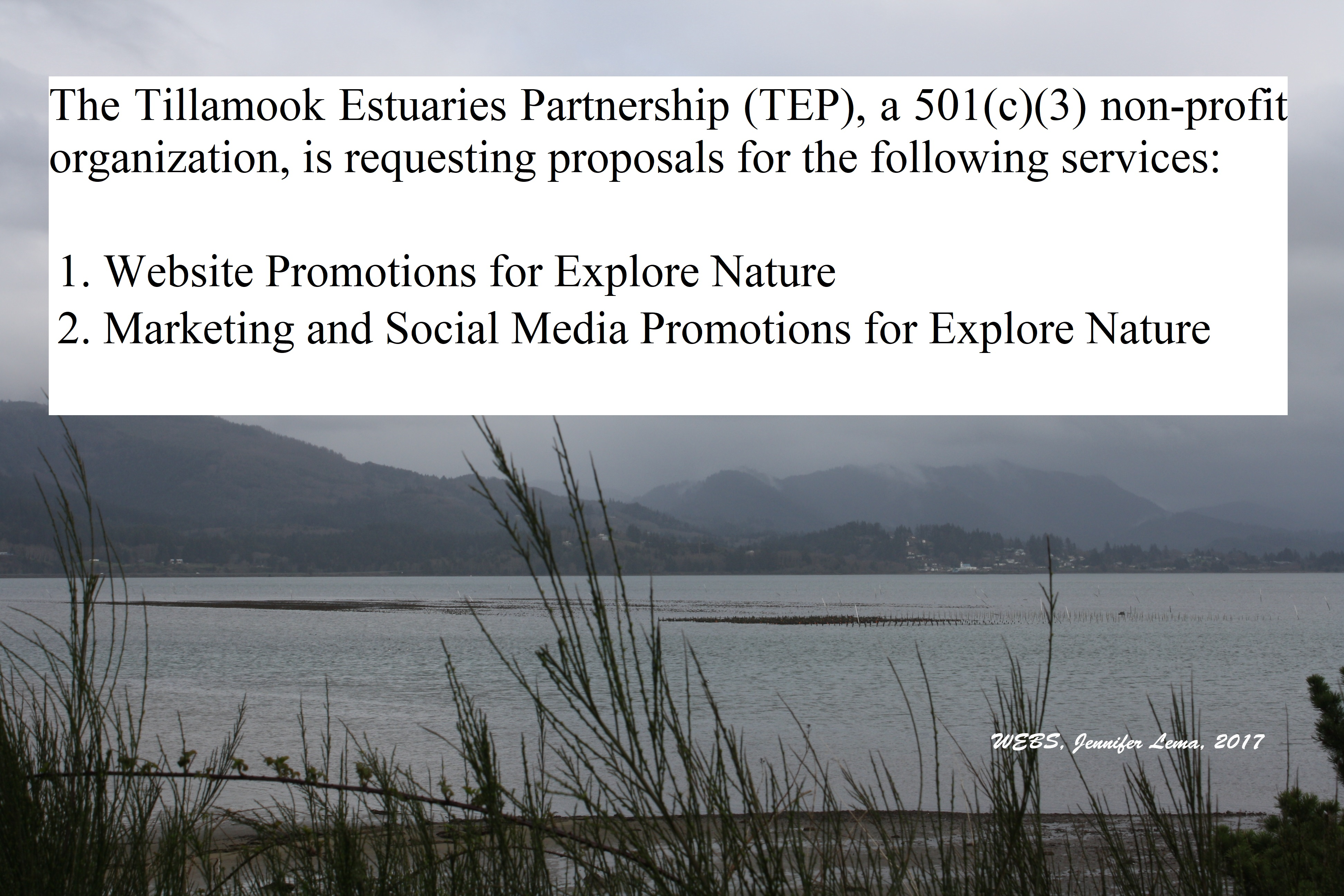 Request for Proposals - Explore Nature Website Marketing, Promotions